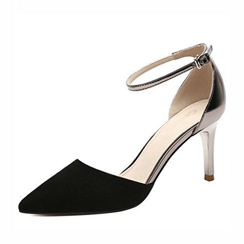 Thin HWF Ms mujer Tamaño High para Zapatos Verano Zapatos Color Negro 37 de Femeninos Sandalias Heels Femeninos Negro qzxEHR
