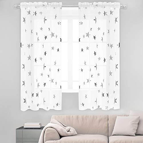 (Anjee Silver Star Print Curtains White Sheer Window Drapes with Twinkle Star for Living Room 2 Panels Rod Pocket Transparent and Soft Starry Theme for Bedroom 54