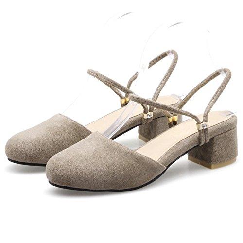 COOLCEPT Mujer Moda Correa de Tobillo Sandalias Cerrado Slingback Tacon Ancho Zapatos Gris