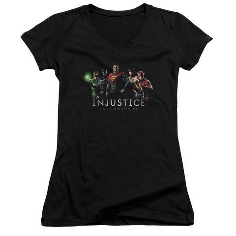 Trevco Injustice Gods Among Us Injustice League Junior V Neck Tee Black