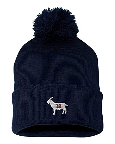 Go All Out One Size Navy Adult Goat #12 Embroidered Knit Beanie Pom Cap