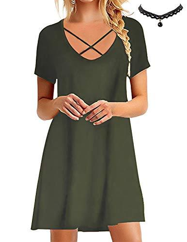 BUOYDM Mujer Vestido de Camiseta Shirt Manga Corta Casual Vestido Corto Túnica Camisa Largo Verde