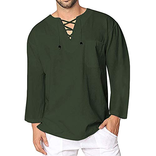 a5449d7ade47f Men Jackets,Dartphew 2018-Men's Vintage Casual Linen Lace Top Blouse - 2021  Hot Army Green