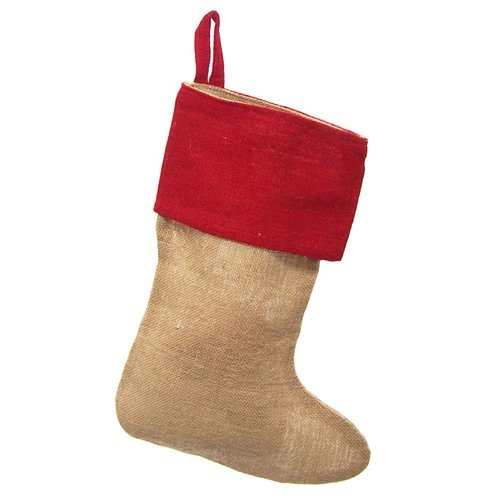Homeford FHV000T15252_6X Red Cuff Burlap Christmas Stockings (6 Pack), 17''