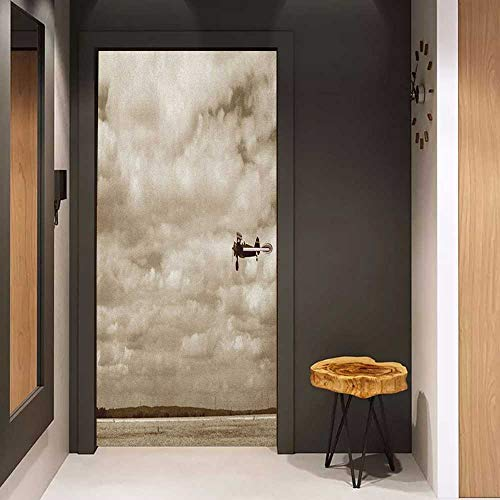 Onefzc Door Wallpaper Murals Vintage Airplane Airplane in Dramatic Cloudy Skies Aviation Flyby Obsolete Composition Print WallStickers W30 x H80 Sepia