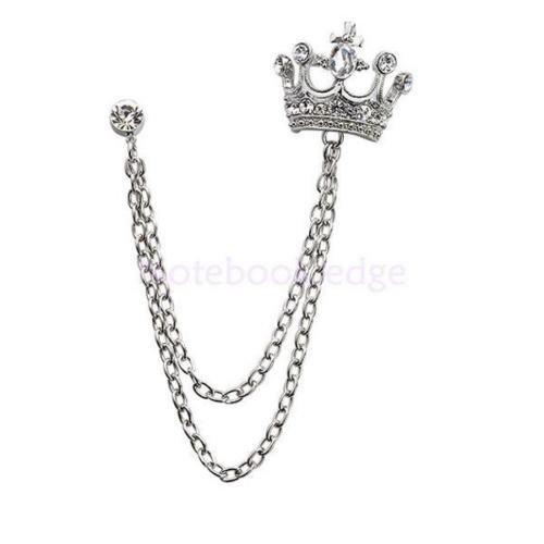 Crystal Rhinestone Crown with Layer Chain Tassels Brooch Lapel Pin Coat Suit