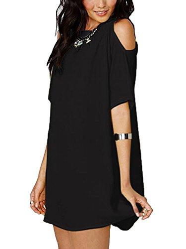 paule Shirt Blouse Chemisier Courte Mousseline LaoZan Elgante Manche Nue En Noir Femme Tops Tunique qU7wvFYA