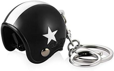 XuBa Portachiavi a forma di casco da motociclista 3D Gelber Hut Wei/ßer Stern
