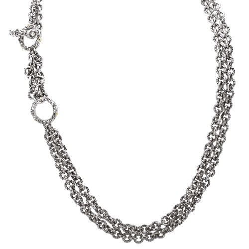 Sterling silver and 18k gold Enchanta Collection double strand cable chain adjustable necklace, 18-20 Inches