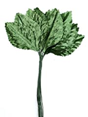 """Green Satin Corsage and Boutonniere Wired Leaves. Size: Overall: 4-3/4"""" L , Leaf: 1-3/4"""" L x 1"""" W"""