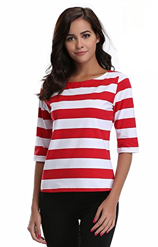 MISS MOLY Women's Tops Summer Half Sleeve Cute Casual Blouses Striped Tee Shirts - Stripe Cotton Top Blouse