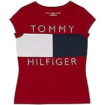 Tommy Hilfiger Big Girls' Pieced Flag Tee, Regal Red/White/Blue, Medium