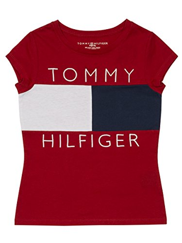 Tommy Hilfiger Big Girls' Pieced Flag Tee, Regal Red, Small