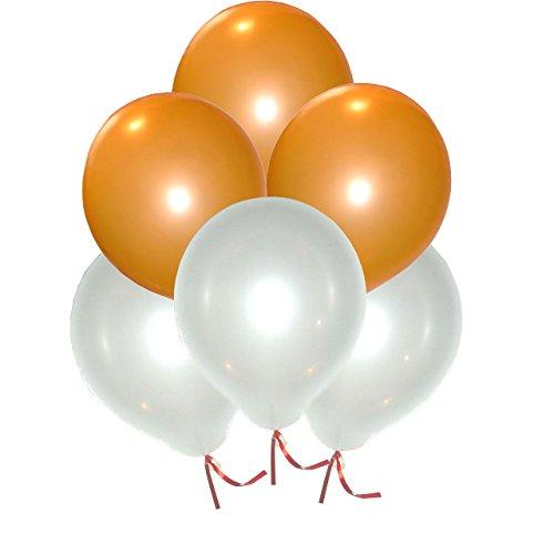GrandShop 50344 Toy Balloons Metallic Hd Orange & White (Pack Of (Orange Metallic Balloons)