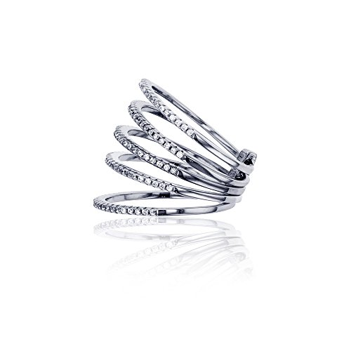 Sterling Silver Rhodium Stack Cubic Zirconia 5 Rings Attached,7