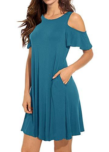 Dutebare Women's Cold Shoulder Dress Short Sleeve Swing Tunic T-Shirt Dresses with Pockets Acid Blue L
