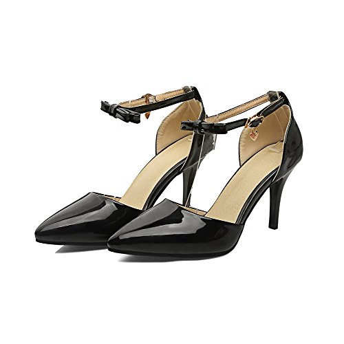 VogueZone009 Women's Pointed-Toe Spikes-Stilettos Buckle Pumps-Shoes Black 4lV73wqG