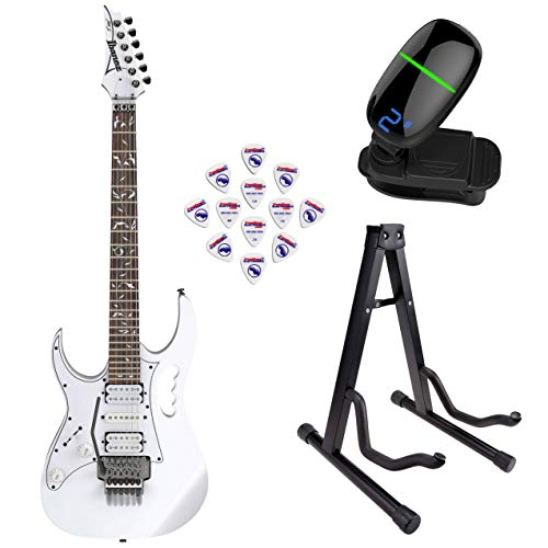 (Ibanez Steve Vai Signature 6str Electric Guitar - Left Handed - (White) with Front Row Guitar Stand, tuner and pick sampler)