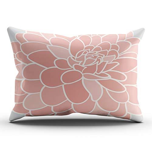 XIUBA Pillowcases Coral and Gray Pink Dahlia Graphic Customizable Cushion Decorative Rectangle 12x24 Inch Lumbar Size Throw Pillow Cover Case Hidden Zipper One Side Design Printed