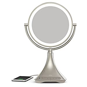 "iHome All-in-One, 7X Magnify, 9"" 2-Sided LED Makeup Mirror, Bright LED Light Up Mirror, Natural Light, Double-Sided Vanity Mirror, Hands-Free Bluetooth Speakerphone, Bluetooth Audio & Phone Charger"
