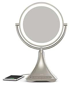 iHome Espejo de tocador de doble cara de 23 cm con audio/manos libres bluetooth y carga USB