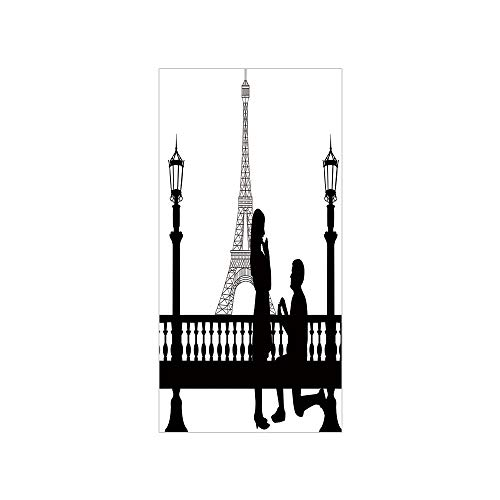 3D Decorative Film Privacy Window Film No Glue,Engagement Party Decorations,Paris Lovers City Wedding Proposal for Great Future Image,Black and White,for Home&Office -