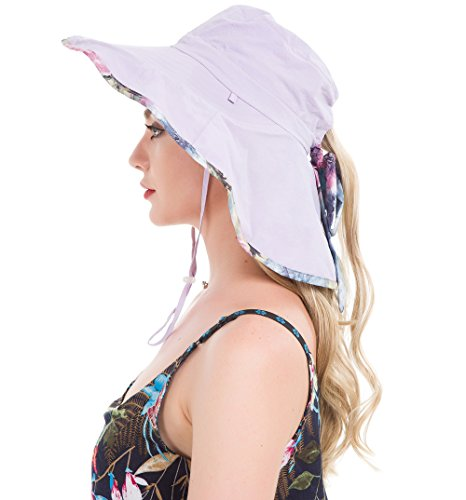 864158307da Lenikis Women s UPF50+ Sun Hat Wide Brimmed UV Protection Flap Hat with Ponytail  Hole Purple