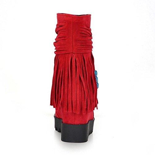 Bootie Ankle Wedge Tassel Pull Fashion On Razamaza Donna Mocassino Red vwxn18q