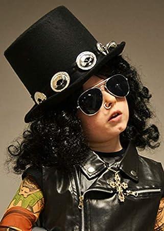 Magic Box Kids Size 1980s Rockstar Slash Style Black Top Hat
