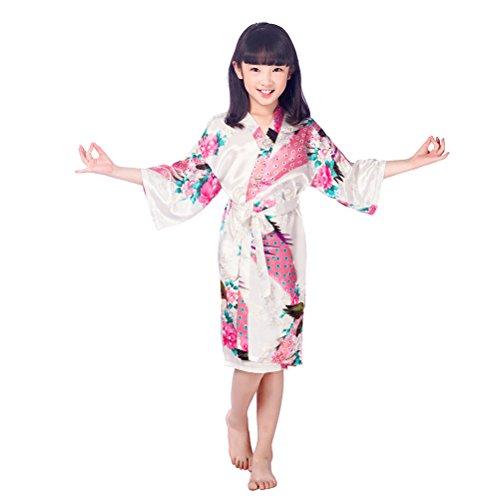 Girls Stain Kimono Peacock Flower Robe f...