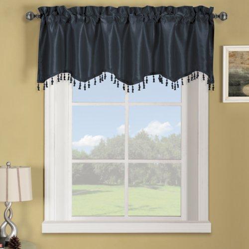 Sheetsnthings 100% Polyester Navy Soho Straight Decorative Trim Window Valance 70