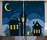 wall panel covering - Ambesonne Halloween Curtains, Old Town with Cat on The Roof Night Sky Moon and Stars Houses Cartoon Art, Living Room Bedroom Window Drapes 2 Panel Set, 108 W X 84 L inches, Black Yellow Blue