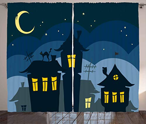 Ambesonne Halloween Curtains, Old Town with Cat on The Roof Night Sky Moon and Stars Houses Cartoon Art, Living Room Bedroom Window Drapes 2 Panel Set, 108 W X 84 L inches, Black Yellow Blue