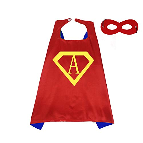 RANAVY Diamond Hero Capes for Kids Superhero Birthday Parties 26 Letter 10 Number Initial Red/Blue 27