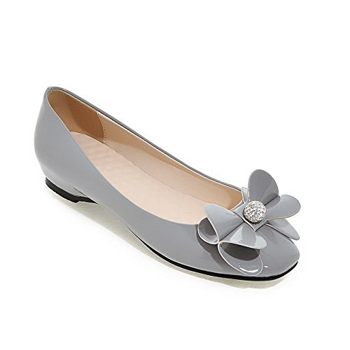 VogueZone009 Gray Pumps Toe Solid Shoes On Pull Heels Low Women's Closed Square rSqOfr