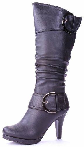 Jjf Schoenen Pagina-20 Zwarte Mode Mid-kalf Slouch Rits Gesp Hoge Hak Laarzen-10