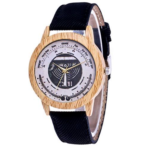 NXDA Geneva fashion women's watch casual PU leather strap analog quartz double round chassis watch (Black) ()