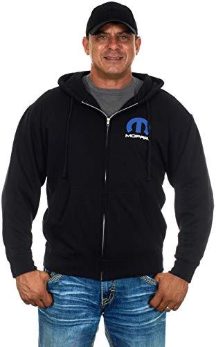 Men's Mopar Logo Hoodie a Full Zip Up Black Hoodie (Large, AP22-black)
