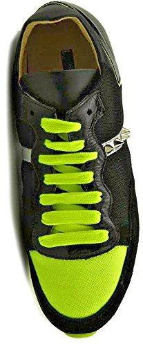 Ruthie Davis Mujeres Knightly Fashion Sneaker Fluorescente Limón / Negro