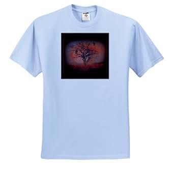 3dRose mimulux Dark Fantasy Art - AT DUSK evening sunset sun crow tree silhouette landscape fantasy dusk nightfall twilight - T-Shirts - Youth Light-Blue-T-Shirt Large(14-16)