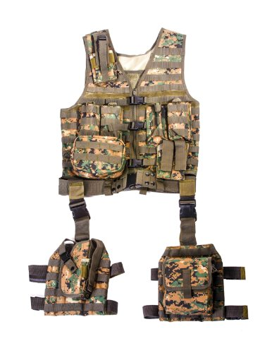 Camo Ultimate Tactical Vest - Ultimate Arms Gear Tactical Assault Scenario Marpat Woodland Digital Camo Camouflage MOLLE 10 Piece Ambidextrous Complete Kit Set Deluxe Modular Web Vest w/ Hydration Bladder Pocket + 2 Open-Top Double Mag Ammo Pouches + Pistol Mags + Cell Phone Radio Pouch + Adjustable Duty Belt + Medical Utility Pouch + Dropleg Pistol Ambi Holster + Multi Purpose Dump Drop Leg Platform Rig