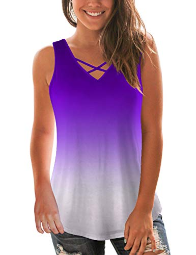 (NIASHOT Womens V Neck Sleeveless T Shirt Casual Summer Tank Tops Pretty Ombre Tunics L )