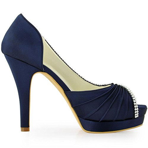 12cm Minitoo tendance Chaussures Blue femme Heel mariage de Dark q00tr