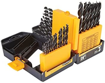 29 Piece Brad Point Wood Drill Bit Set with Durable Case with Index; Size...