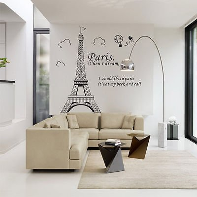 (Wall Stickers Quote - 1 Piece Paris Eiffel Tower Stickers Quotes Vinyl Art Decal Poster Home Room Wall Sticker Decorations)