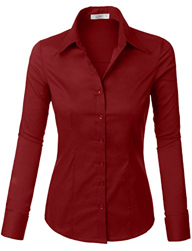(LE3NO Womens Tailored Long Sleeve Button Down Shirt with Stretch Burgundy)