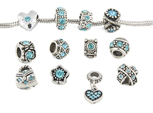 Yeshan 12pcs Antique Silver Rhinestone Charm Beads Fits Pandora Jewelry -with a Snake Chain Free
