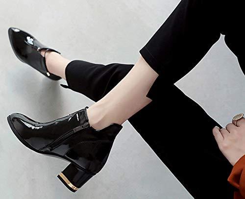 Mode Aisun Cérémonie Brillant Eclair Noir Fermeture Basse Femme Bottine 1w7q5