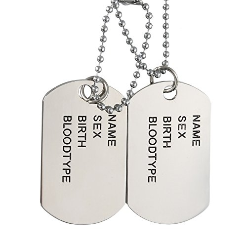 Mens High Polished Double Army Dog Tag Pendant Necklace,Silver,27 Inch Chain Included (Army Silver Necklace)