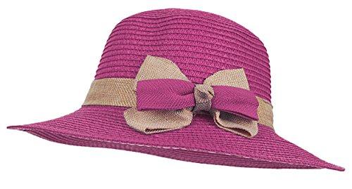 Kaisifei Womens Beach Braid Straw hat (Purple (New Braid Fedora)